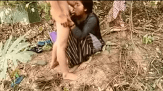 Indian newly married couple Outdoor sex in forest on honeymoon