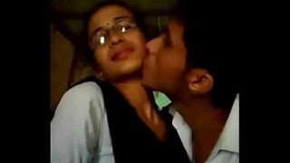 Indian college girl and boy sensual kissing in public place