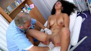 Young Arab girl medical examination by doctor and breast massage