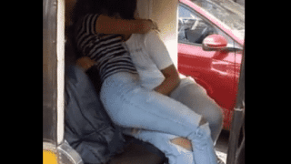 Indian couple hot kissing and boobs press in auto rickshaw mms